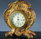 c1890 ART NOUVEAU ORNATE GOLD GILT METAL ANSONIA PORCELAIN FACE DESK TABLE CLOCK