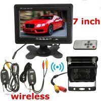 "Monitor 7"" Kit Telecamera 18led Infrarossi Retromarcia +Ricevitore Wireless Auto"