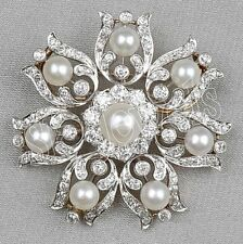 2.05ct NATURAL ROUND DIAMOND PEARL GEMSTONE 14K SOLID YELLOW GOLD BROOCH PIN