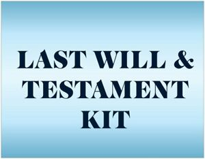 MAILED Last Will and Testament Legal Form Document Kit