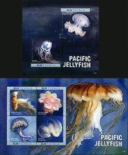 2017 Tuvalu, marine life, jellyfish, SS+sheet, MNH