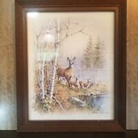 "Andres Orpinas Deer Wilderness Print 16"" x 20"" Signed, Wood Framed"