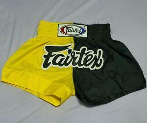 SHORTS FAIRTEX BS-Y01 MUAY THAI KICK BOXING MMA MULTI COLOR YELLOW BLACK M NYLON