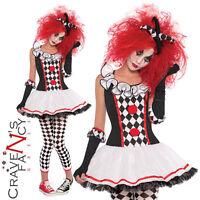 Teen Girls Harlequin Honey Costume Jester Clown Halloween Fancy Dress Outfit New