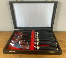 More details for set of 6 vintage steak knives with stag antler horn handles, k bright sheffield