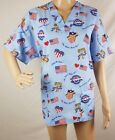 """Cherokee Scrub Top Scrub Size Small Patriotic Eagle and Flag """"United We Stand"""""""