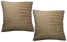 Pack of 2 Textural Organic Wavy Lines Brown Woven Design Cushion Covers