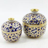 Vintage Pair Porcelain Dresser Trinket Boxes Cobalt Blue Gold Gilt Floral