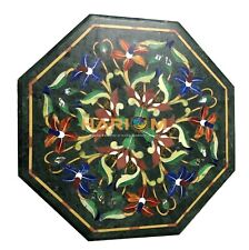 Green Marble Breakfast Table Tops Garden Rare Inlaid Marquetry Decoration H2494