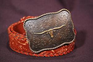 Brass Long Horn Belt Buckle on a Nocona Leather Belt Western Wear Texas Rodeo