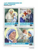 Togo Mother Teresa Stamps 2020 MNH Famous People Pope John Paul II 3v M/S