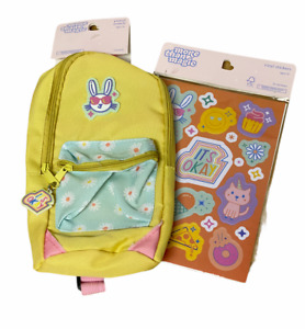 New MORE THAN MAGIC Yellow BUNNY Pencil Pouch BAG with Strap +54 Stickers