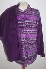 Purple Carole Hochman Fairisle Plush Zip Up Top & Trousers Pyjama Set  3XL & New