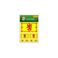 SCOTLAND LION RAMPANT , SET OF 7 COUNTRY FLAG VINYL CAR STICKERS , 3 SIZES ..NEW