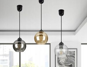 Pendellampe Glas KUGEL Kuppel Hängeleuchte Retroleuchte E27 1-flammig 3 Farben