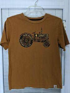Boy's Youth Carhartt Brown Tractor Crew Neck T-Shirt Size Medium RN 13706