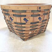 COUNTRY Woven Collection ROOSTER Wooden Wood Grand WICKER BASKET Maspeth NY