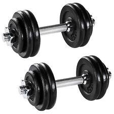 2x 15kg Mancuerna con Pesas Halteras de Fitnes Acero Hierro Musculación Gimnasio