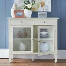 Wood Buffet Storage Display Cabinet w/ Glass Doors in White Finish
