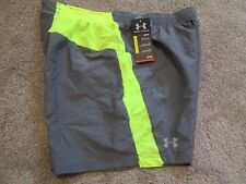 NEW Mens UNDER ARMOUR RUNNING SHORTS w/ Brief Lining Gray/Neon XL FREE SHIPPING!