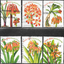 SOUTH AFRICA 2006 CLIVIA FLOWERS POSTALLY USED Sc#1363 a-f 2186