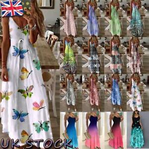 UK Womens Summer V Neck Long Dress Ladies Boho Beach Holiday Maxi Sundress S-3XL
