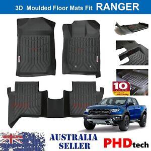 3D TPE All Weathe Floor Mats Liner fit Ford Ranger Dual Cab Wildtrak Raptor