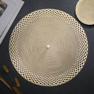 Gold Placemats & Coasters Round Vinyl Place Mat for Kitchen Dining Table Wedding
