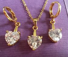 S White Sim diamond hearts matching gold filled necklace earrings BOXED Plum UK.