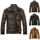 Winter Men's PU Leather Coat Thicken Jackets Stand Collar Waterproof Outerwear