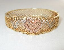 Yellow White Rose 14K Gold Filigree Diamond Cut Heart Bangle Bracelet 20.7 Grams