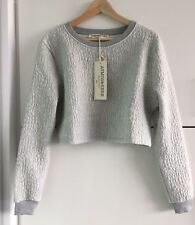 Atmos & Here Luxury Croc Cropped Sweater **NEW W TAGS** Grey Marle Sz 6-10