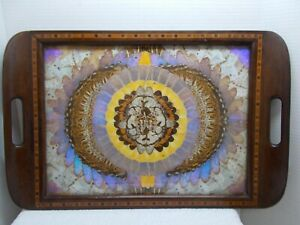 Antique Wooden Tray with Butterfly Wing Art