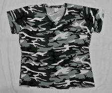 Plus Camo 100% Cotton Jersey VNeck Tee 3X Black/Gray Camo NEW