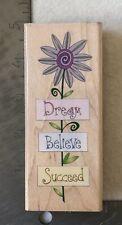 Dream Believe Succeed Flower Rubber Stamp Large Inkadinkado Saying