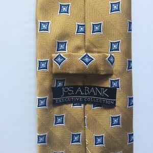 Jos. A Bank Executive Collection Men's Tie Gold Blue Geometric Print 100% Silk