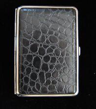 Hansaware Black Crocodile Leatherette Cigarette Case Made in Germany 845/N 309