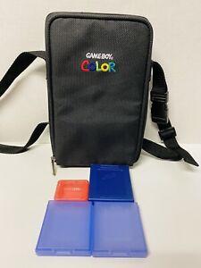 Vintage Nintendo Gameboy Color, Travel Carrying, Bag Case, w/ Strap & Extras