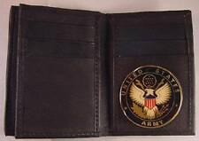 USA US ARMY BLACK SOFT LEATHER 20 CREDIT CARD WALLET ID FLAP