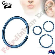 316L Surgical Steel Titanium Anodized Blue Annealed & Rounded Cut Nose Ring