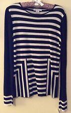 NEW Liz Claiborne Designer Ladies Womens Black & White Long Sleeve Top Medium
