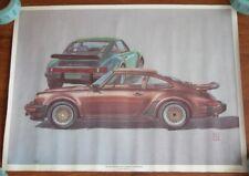 Rare Vtg 80s 1976 PORSCHE TURBO CARRERA Roger Redford Poster George Barris