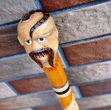 Cossack Cane Walking Stick Wooden Handmade Wood Carving Folk Art,