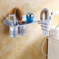 Wall Mounted 3in1 Bath Hair Dryer Organizer Stand Storage Rack Holder Home Set