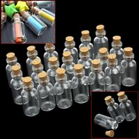 MINI SMALL CORK STOPPER GLASS BOTTLES CLEAR EMPTY JARS VIALS PENDANTS 50PCS
