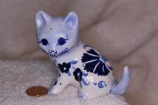 Kitty Cat Ceramic Figurine Vintage Blue White Floral Fettah