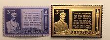 ABRAHAM LINCOLN GETTYSBURG ADDRESS GOLD ON  SILVER USPS 1948 3 Cents STAMP