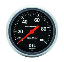 "Autometer 3421 Sport-Comp 2-5/8"" Mechanical Oil Pressure Gauge 0 - 100 Psi"