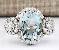 Women's Fashion Jewelry 925 Silver Aquamarine Wedding Engagement Ring Size 6