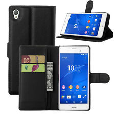 Flip Leather Wallet card slots Case Cover stand Protector Pouch For Sony xperia